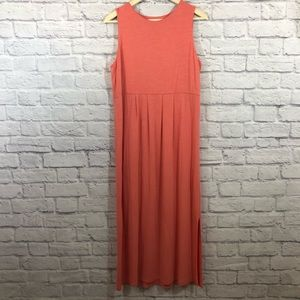 J Jill Size Medium Long Maxi Shirt Dress Coral